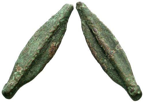 Ancient Coins - Moesia Istros Cast Arrowhead or Leaf Money