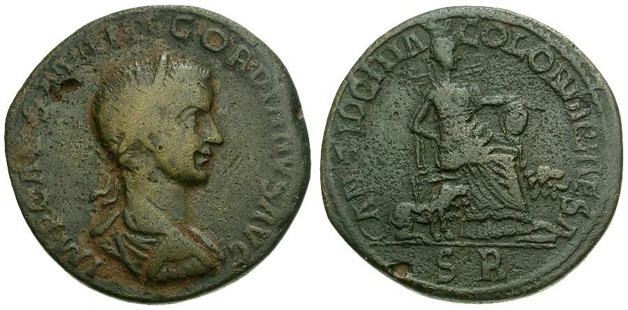 Ancient Coins - Gordian III. Pisidia. Antioch Æ33 / Cybele seated
