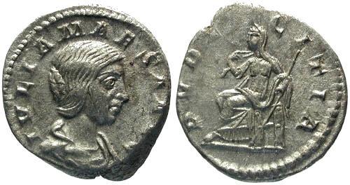 Ancient Coins - VF/aVF Julia Maesa Denarius / Pudicitia