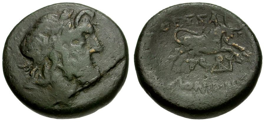 Ancient Coins - Macedonia.  Thessalonika Æ22 / Zeus / Bull
