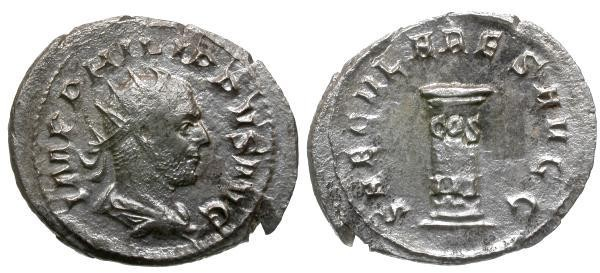 Ancient Coins - aVF/VF Philip I AR Antoninianus / Cippus