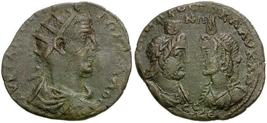 Ancient Coins - Trebonianus Gallus. Cilicia. Seleucia ad Calycadnum Æ25 / Heads of Serapis and Isis