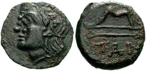 Ancient Coins - VF/aVF Pantikapaion AE20 / Bow and Arrow