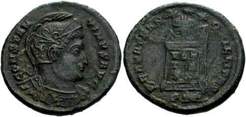 Ancient Coins - VF+/F Constantine I AE 3, rev. globe on altar