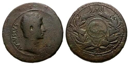Ancient Coins - aVF/aVF Augustus Cyprus Paphos AE Dupondius / Rostral Wreath