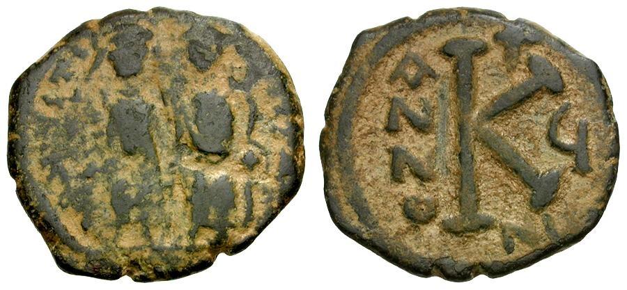 Ancient Coins - Byzantine Empire.  Justin II and Sophia Æ Half Follis