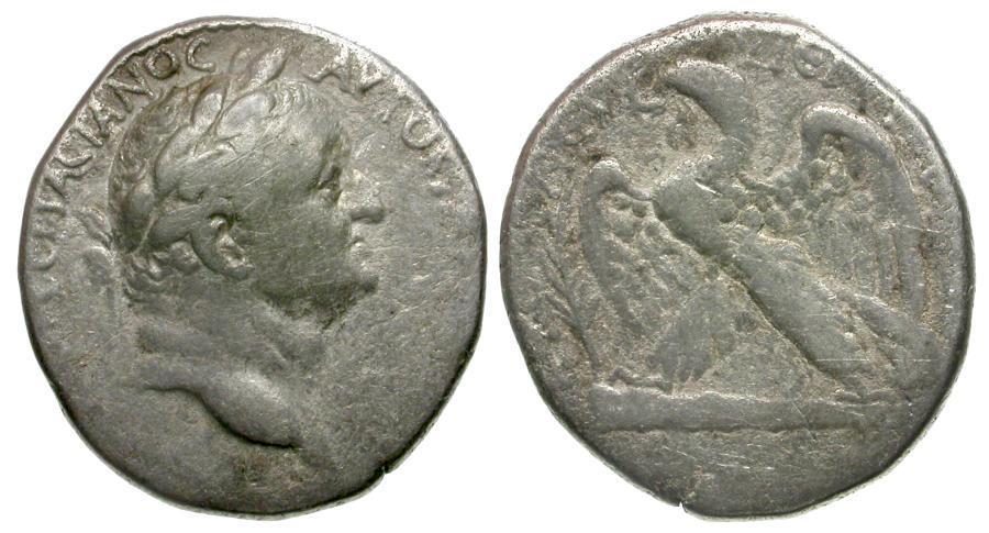 Ancient Coins - Vespasian. Seleucis and Pieria. Antioch AR Tetradrachm / Eagle