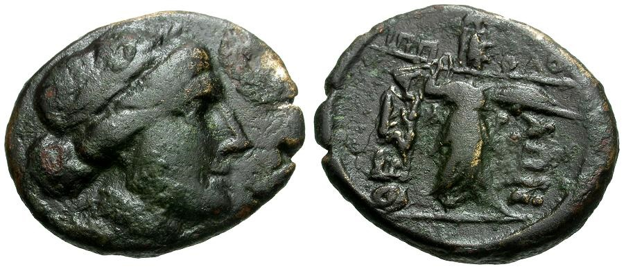 Ancient Coins - Thessaly.  Thessalian League Æ22 / Apollo and Athena