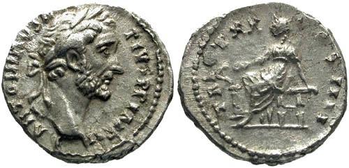 Ancient Coins - VF/VF Antoninus Pius Denarius / Salus XX