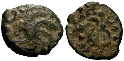Ancient Coins - aVF/aVF Scarce Type Senones Tribe Celtic Bronze / Bird / Sand Patina