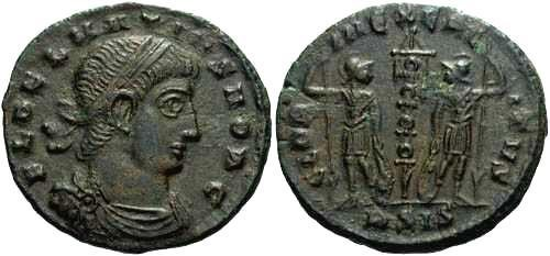 Ancient Coins - gVF Delmatius AE3/4, two soldiers flanking a single standard