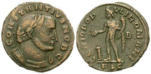 Ancient Coins - VF/VF Constantius I as Caesar / Genius