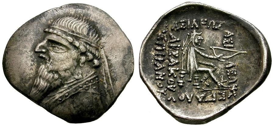 Ancient Coins - Kings of Parthia. Mithradates II. Ekbatana Mint AR Drachm / Archer