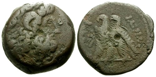 Ancient Coins - aVF/aVF Kings of Egypt Ptolemy VI AE18 / Zeus / Two Eagles