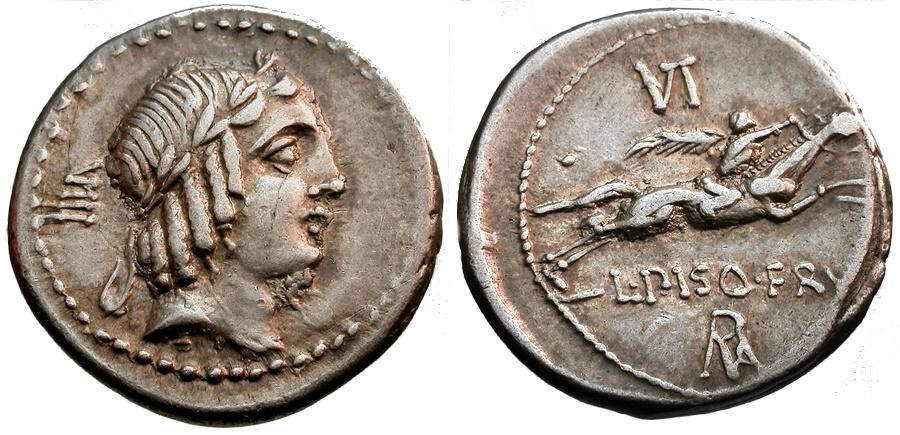 Ancient Coins - 90 BC - Roman Republic. L. Calpurnius Piso Frugi AR Denarius / Horseman with Palm Branch
