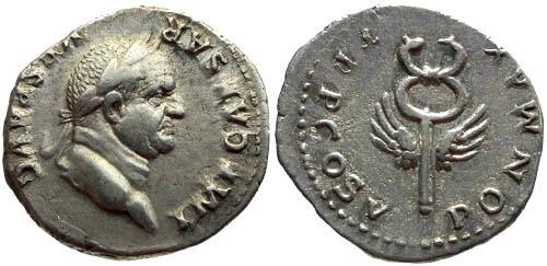 Ancient Coins - VF/VF Vespasian Denarius Winged Caduceus