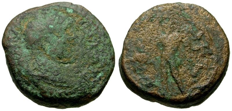 Ancient Coins - Elagabalus, Coele-Syria, Heliopolis  Æ17 / Hermes