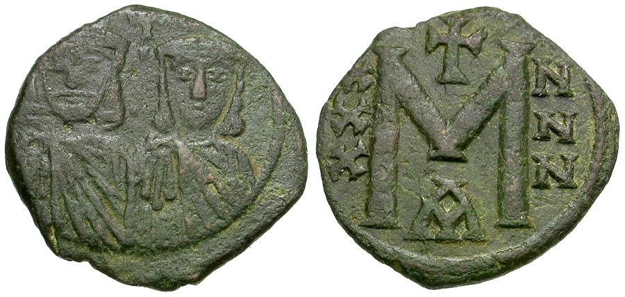 Ancient Coins - *Sear 1607* Byzantine Empire. Nicephorus I (AD 803-811) with Stauracius Æ Follis