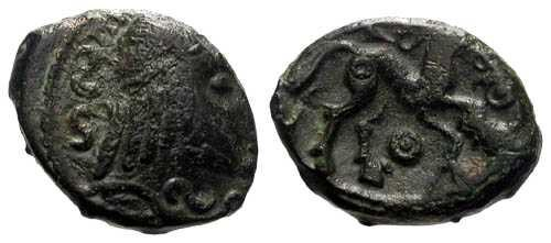 Ancient Coins - EF/EF Ambiani Tribe Struck Bronze / Horse