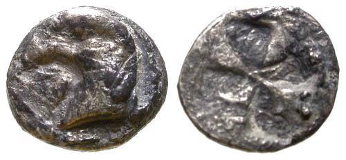 Ancient Coins - F/F Kyme Aeolis AR Hemiobol / Eagle's Head