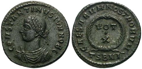 Ancient Coins - EF/EF Constantine II as Caesar AE / Votive