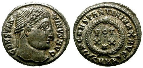 Ancient Coins - EF/VF Constantine I the Great Silvered AE3 / Votive