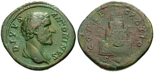 Ancient Coins - VF/F Antoninus Pius Sestertius / Divvs with Funeral Pyre