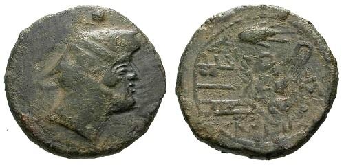 Ancient Coins - VF/VF 211-208 BC Roman Republic AE Sextans / Corn Ear