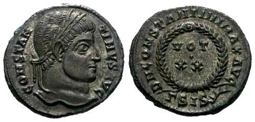 Ancient Coins - EF Constantine I AE3 / Votive