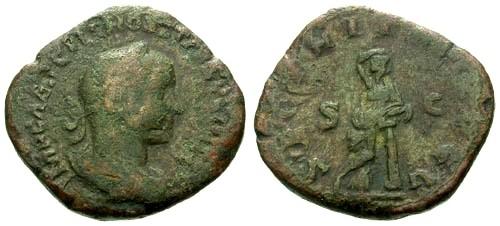Ancient Coins - F/gF Hostilian as Augustus with Trajan Decius AE Sestertius / Securitas