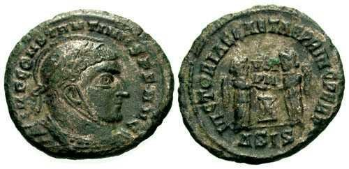 Ancient Coins - EF/EF Constantine the Great / Helmeted & Silvered