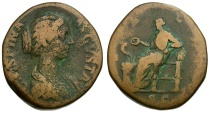 Ancient Coins - Crispina Æ Sestertius / Salus Seated