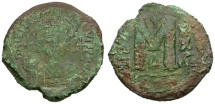 Ancient Coins - Byzantine Empire.  Justinian I Æ Follis