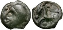 Ancient Coins - Ancient France. Celtic Gaul. Senones Tribe Potin / Picasso Man