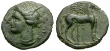 Zeugitania. Carthage Æ15 / Tanit & Horse