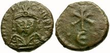 *Sear 579* Byzantine Empire. Maurice Tiberius Æ 5 Nummi / Christogram