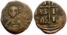 Ancient Coins - Byzantine Empire.  Class B Anonymous. Attributed to Michael IV Paphlagonicus Æ Follis / Portrait of Christ
