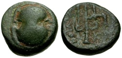 Ancient Coins - Boeotia, Thebes Æ16 / Shield / Trident