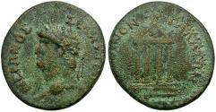 Ancient Coins - Nero. Galatia. Koinon. Tavium mint? Æ22 / Temple