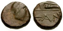 Ancient Coins - F/VF Cimmerian Bosporus, Pantikapaion Æ11 / Apollo / Bow in case