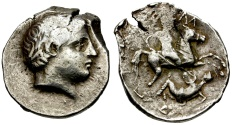 Ancient Coins - Kingdom of Paeonia, Patraos AR Tetradrachm / Horseman spearing fallen enemy