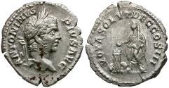 Ancient Coins - Caracalla (AD 198-217) AR Denarius / Caracalla Sacrificing