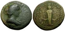 Ancient Coins - Faustina II, Judaea, Samaria, Neapolis Æ21 / Cultus Statue of Artemis