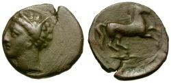 Ancient Coins - Carthaginians in Spain. Æ13 / Tanit / Horse