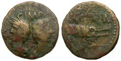 Ancient Coins - Agrippa and Augustus. Imitative of Gaul. Nemausus Æ AS / COL NEN