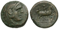 Ancient Coins - Kings of Macedon.  Philip V Æ16 / Youth on Horseback