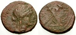 Ancient Coins - gF+/gF+ Sicily, Menaion Æ18 / Demeter / Crossed torches