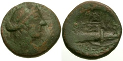 Ancient Coins - Macedon.  Thessalonica Æ17 / Bow and Quiver