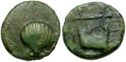 Ancient Coins - Calabria. Tarentum Æ14 / Scallop Shell and Kithara