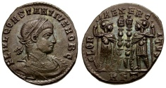 Ancient Coins - Constantius II as Caesar Æ4 / Soldiers and Standards